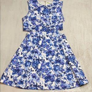 GIANNI BINI Blue & White Floral Cut-our Dress